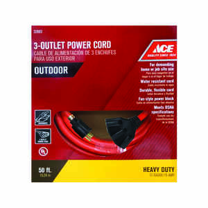 Ace  50 ft. L Orange  Indoor and Outdoor  Triple Outlet Cord  12/3 STW