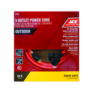 Ace  Indoor and Outdoor  Orange  Triple Outlet Cord  12/3 STW  50 ft. L