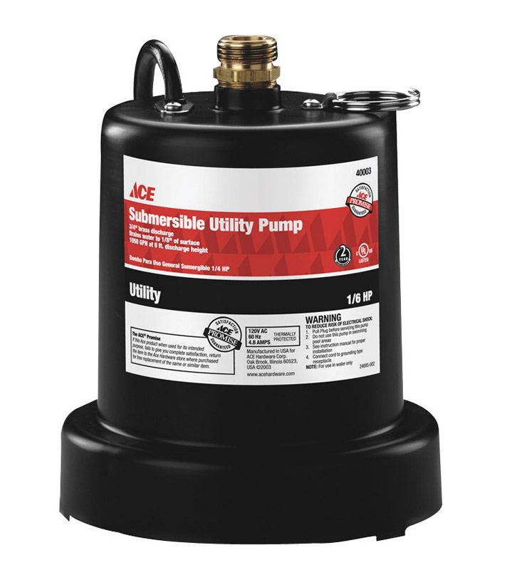 Ace  Wayne  Thermoplastic  Submersible Utility Pump  1/6 hp 950  115 volts