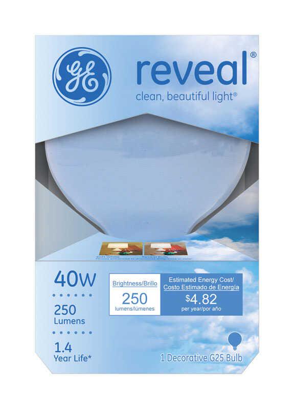 GE Reveal 40 watts G25 Globe Incandescent Bulb E26 (Medium