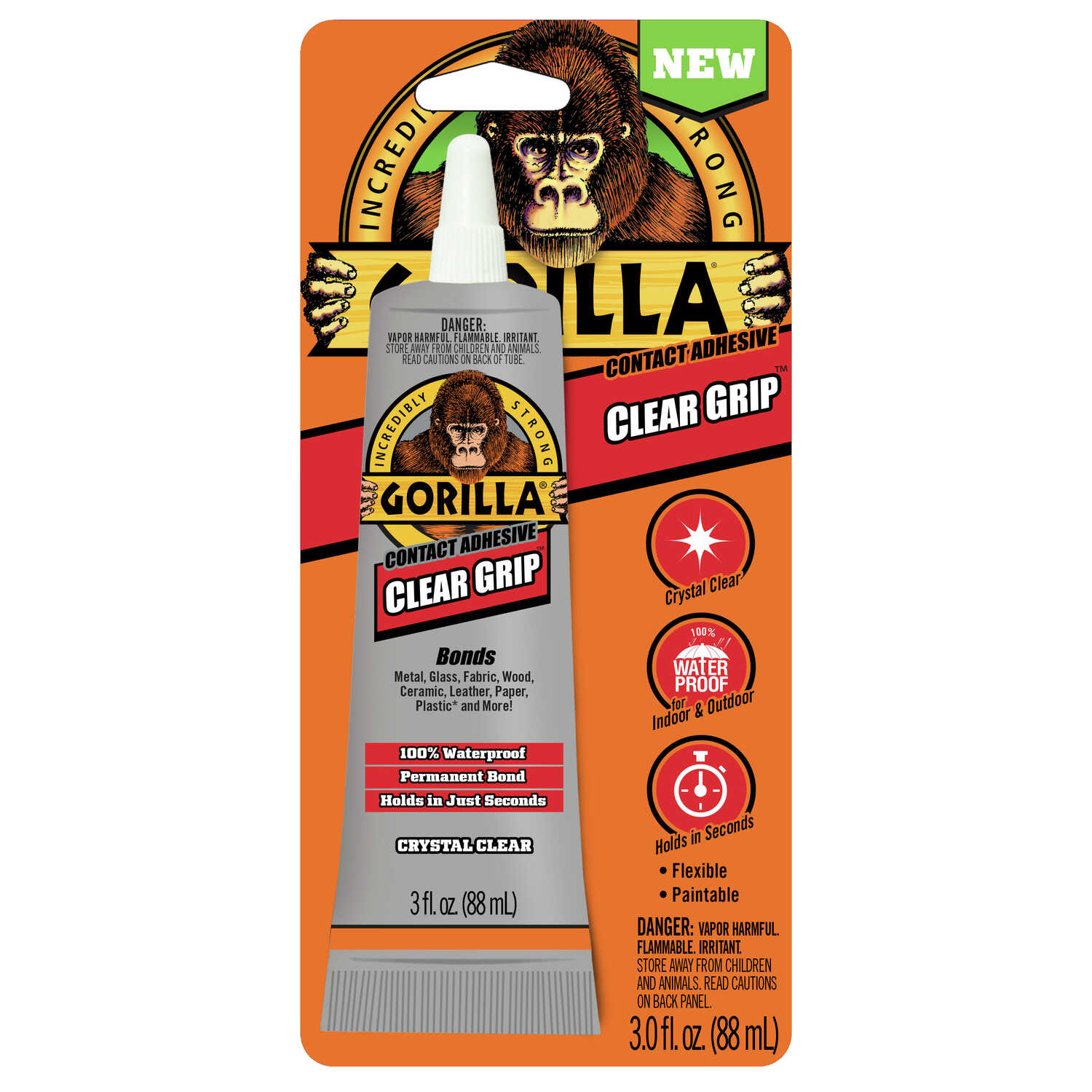 Gorilla  Clear Grip  High Strength  Contact Adhesive  3 oz.