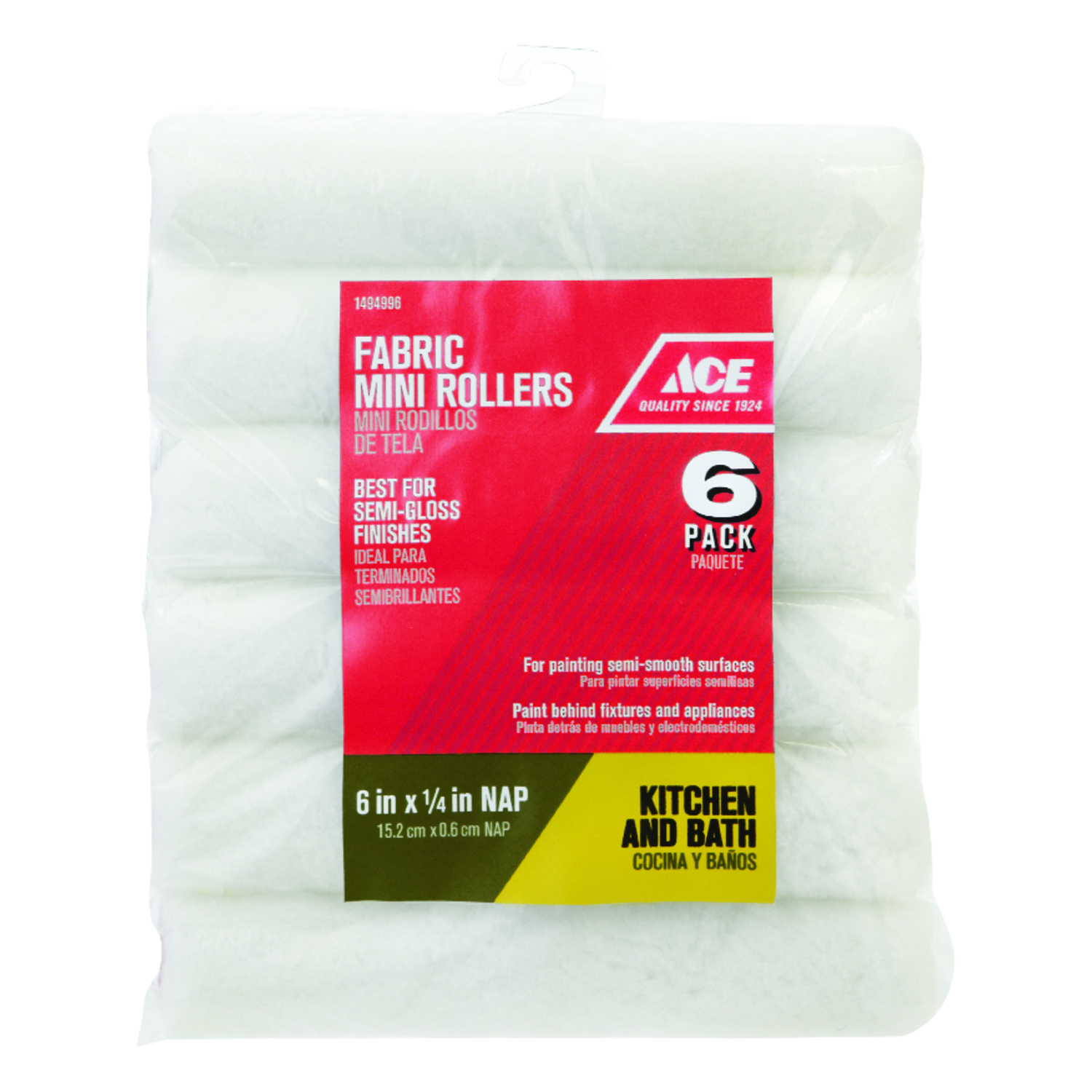 Ace  Polyester  1/4 in.  x 6 in. W Mini  Paint Roller Cover  For Semi-Smooth Surfaces 6 pk