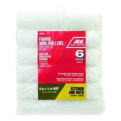 Ace  Polyester  1/4 in.  x 6 in. W Mini  Paint Roller Cover  6 pk