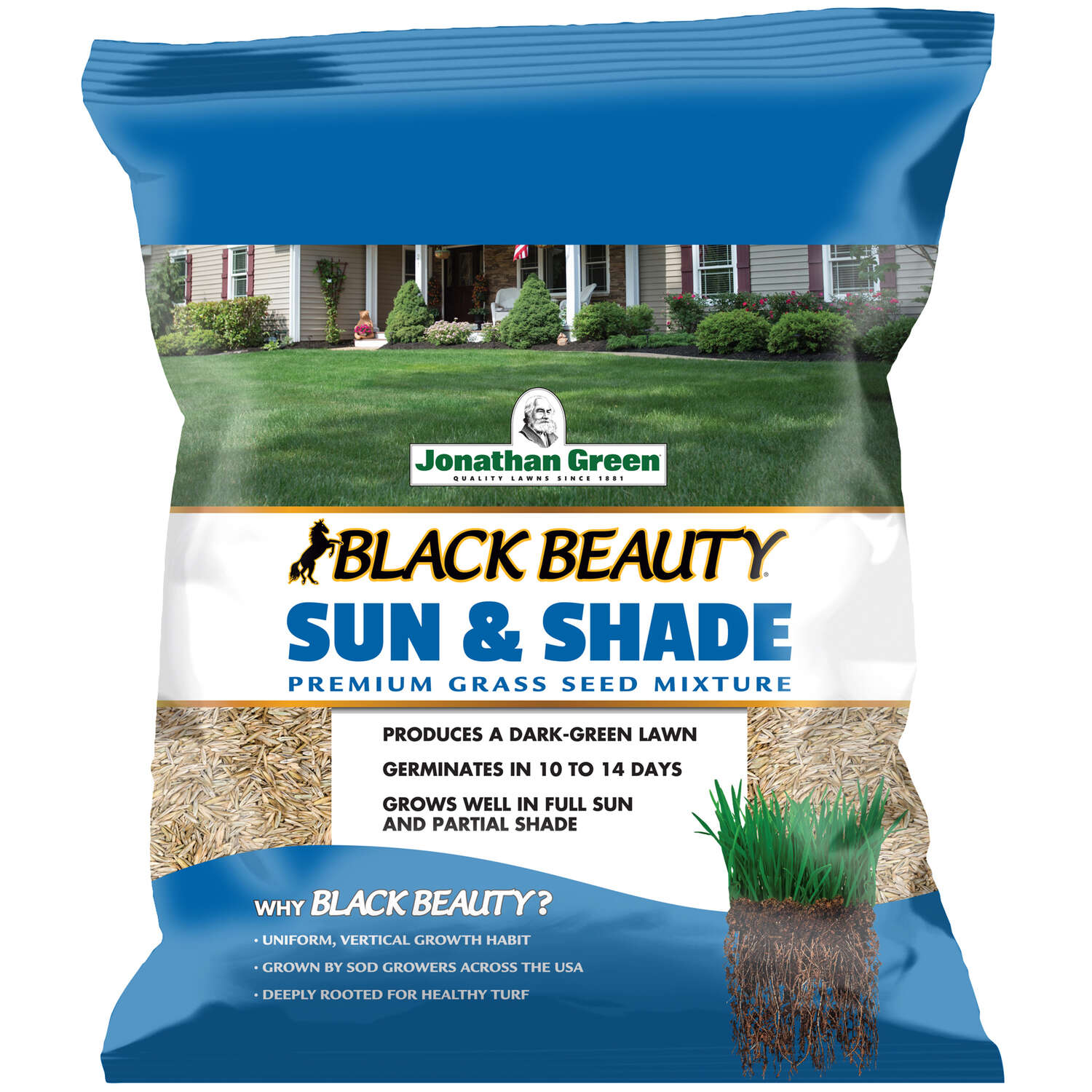 Jonathan Green Black Beauty Sun and Shade Mixed Sun/Partial Shade Grass Seed 3 lb.
