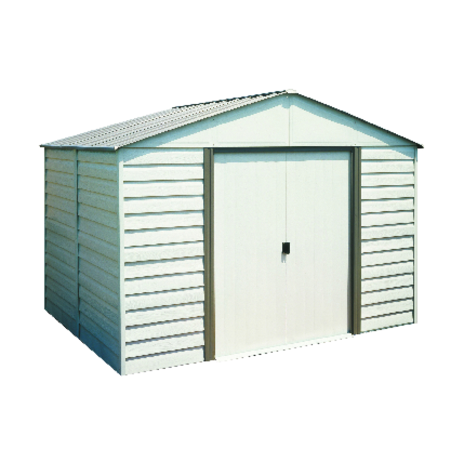 Attractive, horizontal siding combines with a vinyl coating to give you a handsome and durable storage solution. A roomy, gable roof allows for plenty of headroom with space to work, hang tools and store equipment.