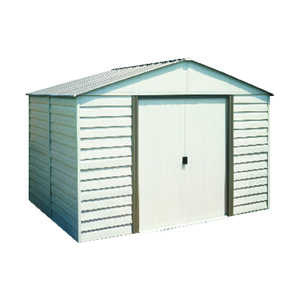 Arrow  Milford  7 ft. H x 10 ft. D x 10 ft. W Storage Shed  Vinyl Coated Steel  Almond