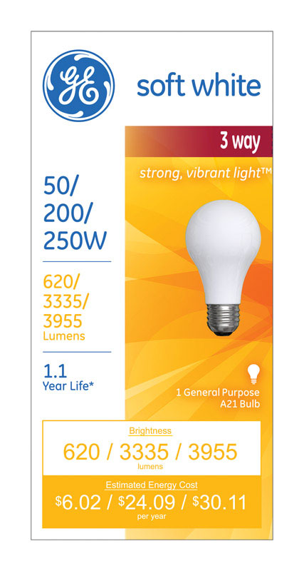 GE Lighting  50/200/250 watts A21  Incandescent Bulb  620/3,335/3,955 lumens Soft White  A-Line  1 p