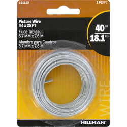 Hillman Steel-Plated Silver Braided Picture Wire 40 lb. 1 pk Steel