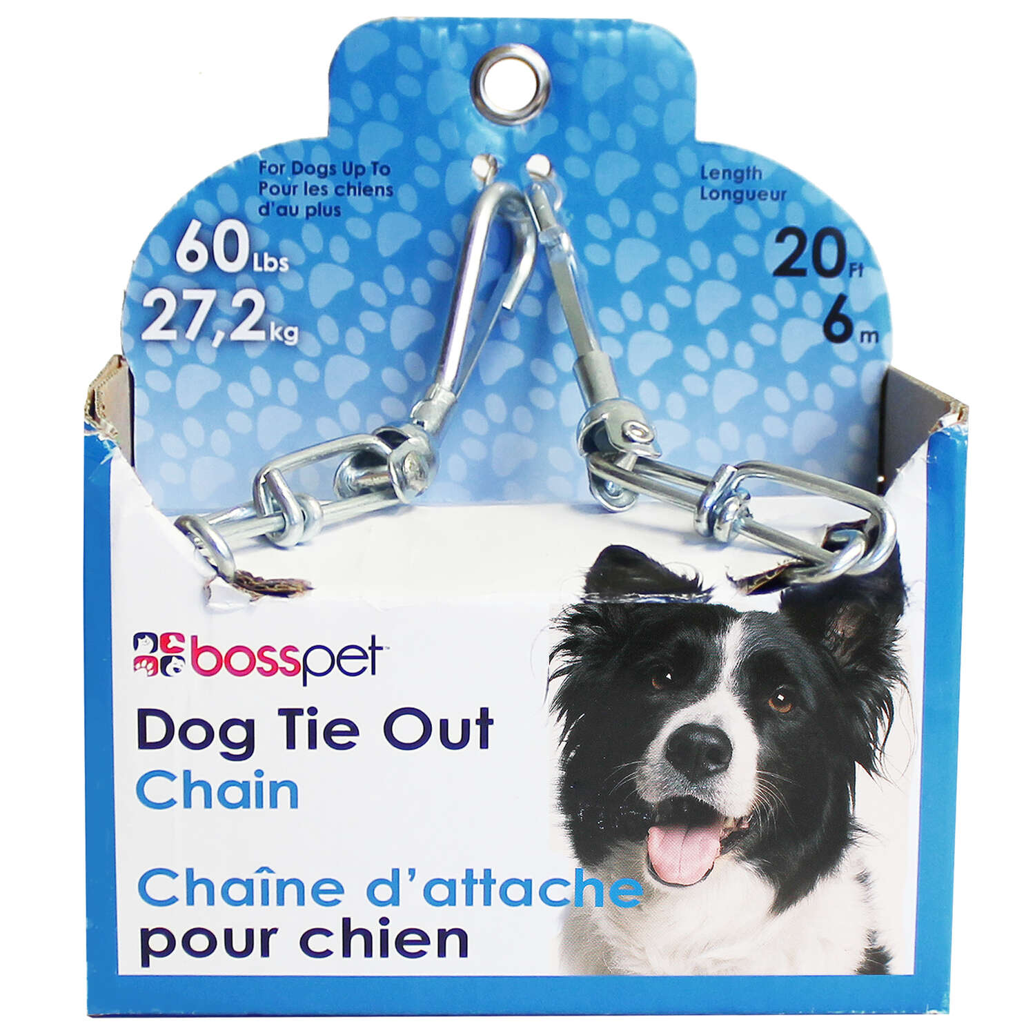 PDQ  Silver  Tie-Out Dog Chain  Steel  Tie Out Chain  Large