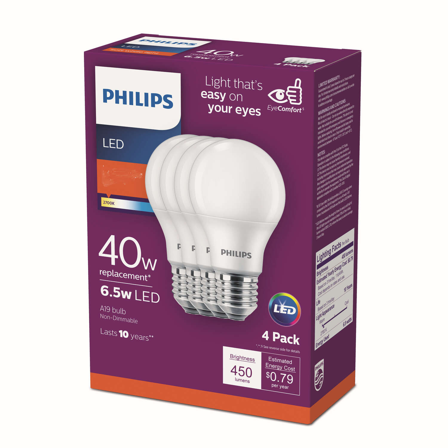 Philips  A19  E26 (Medium)  LED Bulb  Warm White  40 Watt Equivalence 4 pk