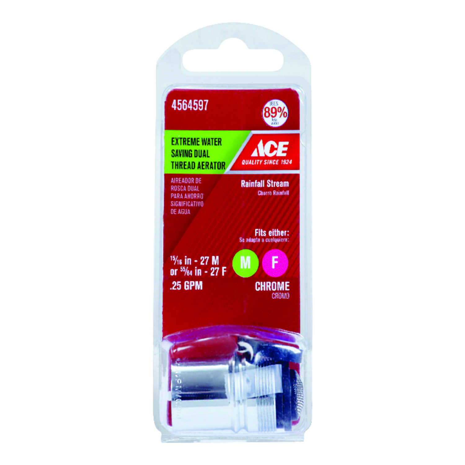 Ace  Dual Thread Aerator  15/16 in.  x 55/64 in.  Chrome