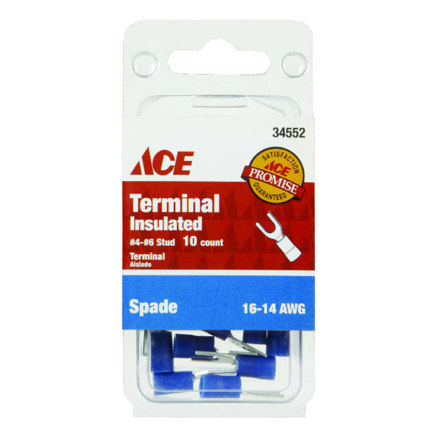 Ace  Insulated Wire  Spade Terminal  10 pk