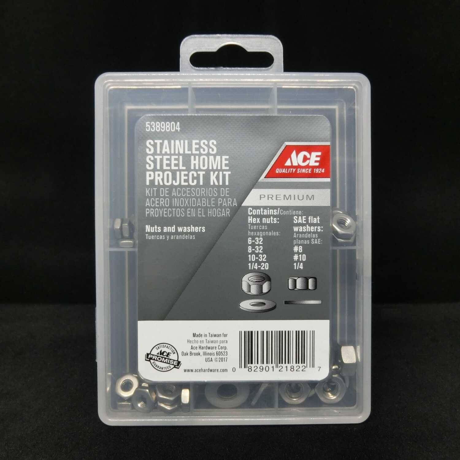 Ace  Stainless Steel  SAE  Nuts and Washers Kit  145 pk