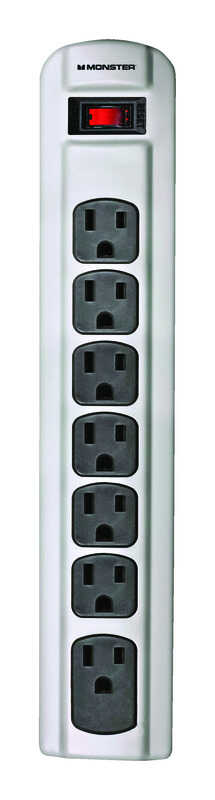 Monster  Just Power It Up  4 ft. L 7 outlets Power Strip  Gray