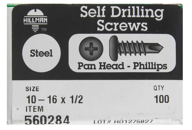 Hillman  10-16 in.  x 1/2 in. L Phillips  Pan Head Zinc-Plated  Steel  Self- Drilling Screws  100  1
