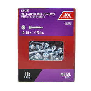 Ace  10-16 Sizes  x 1-1/2 in. L Phillips  Pan Head Zinc-Plated  Steel  Self- Drilling Screws  1 lb.