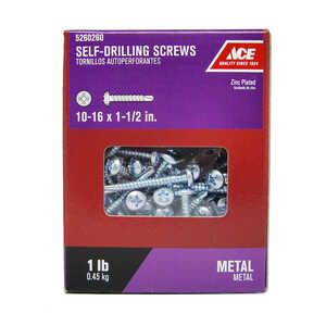 Ace  1-1/2 in. L x 10-16 Sizes  Phillips  Zinc-Plated  Self- Drilling Screws  1 lb. Pan Head Steel