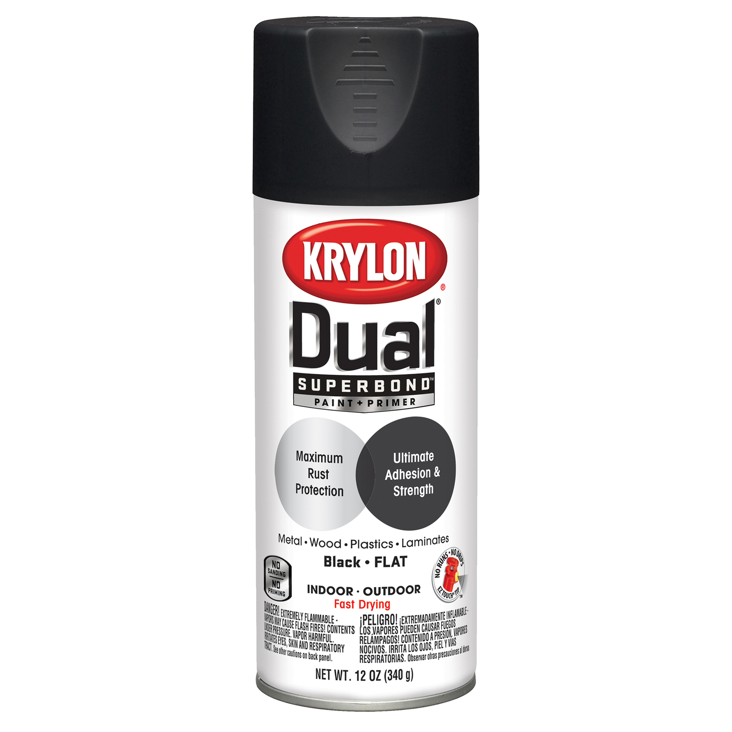 Krylon  Dual Superbond  Flat  Black  Paint + Primer Spray  12 oz.