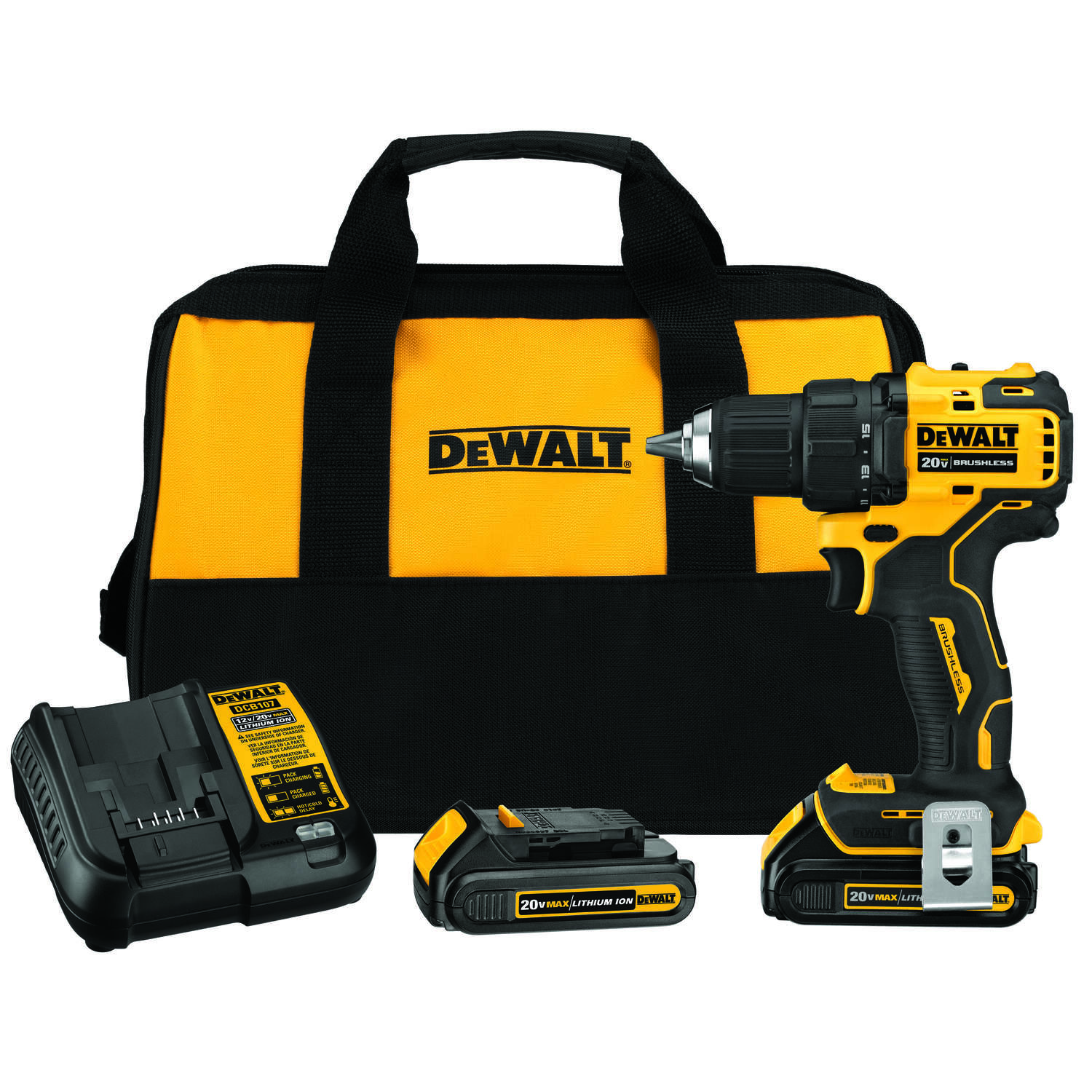 DeWalt Atomic 20 volt Brushless Cordless Compact Drill/Driver Kit 1/2 in. 1650 rpm
