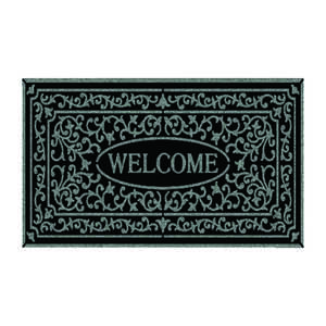 Mohawk  Black  Rubber  Nonslip Door Mat  30 in. L x 18 in. W