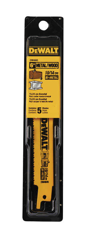 DeWalt  6 in. L x 3/4 in. W Bi-Metal  Reciprocating Saw Blade  10/14 TPI 5 pk