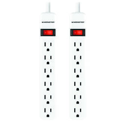 Monster  Just Power It Up  2.5 ft. L 6 outlets Power Strip  White