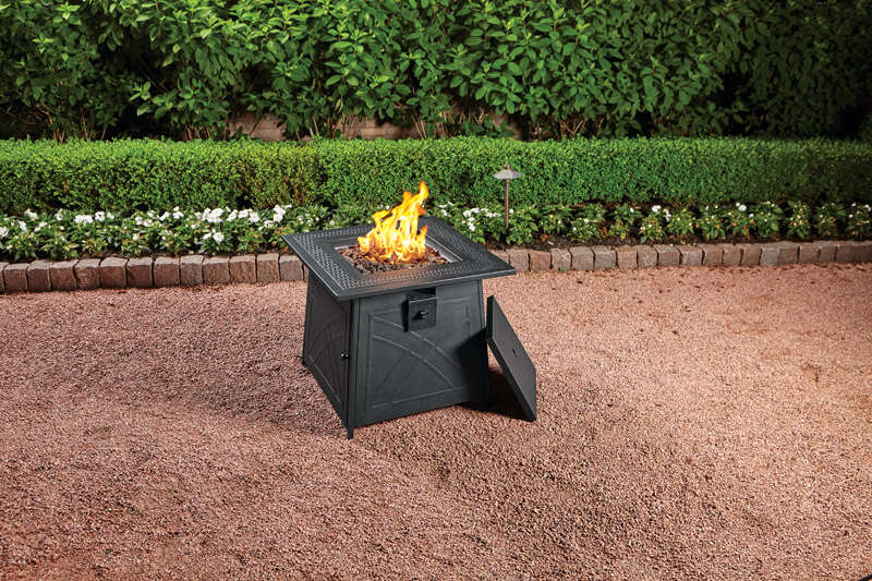 Living Accents  Square  Propane  Fire Pit  25 in. H x 28 in. D x 28 in. W Steel