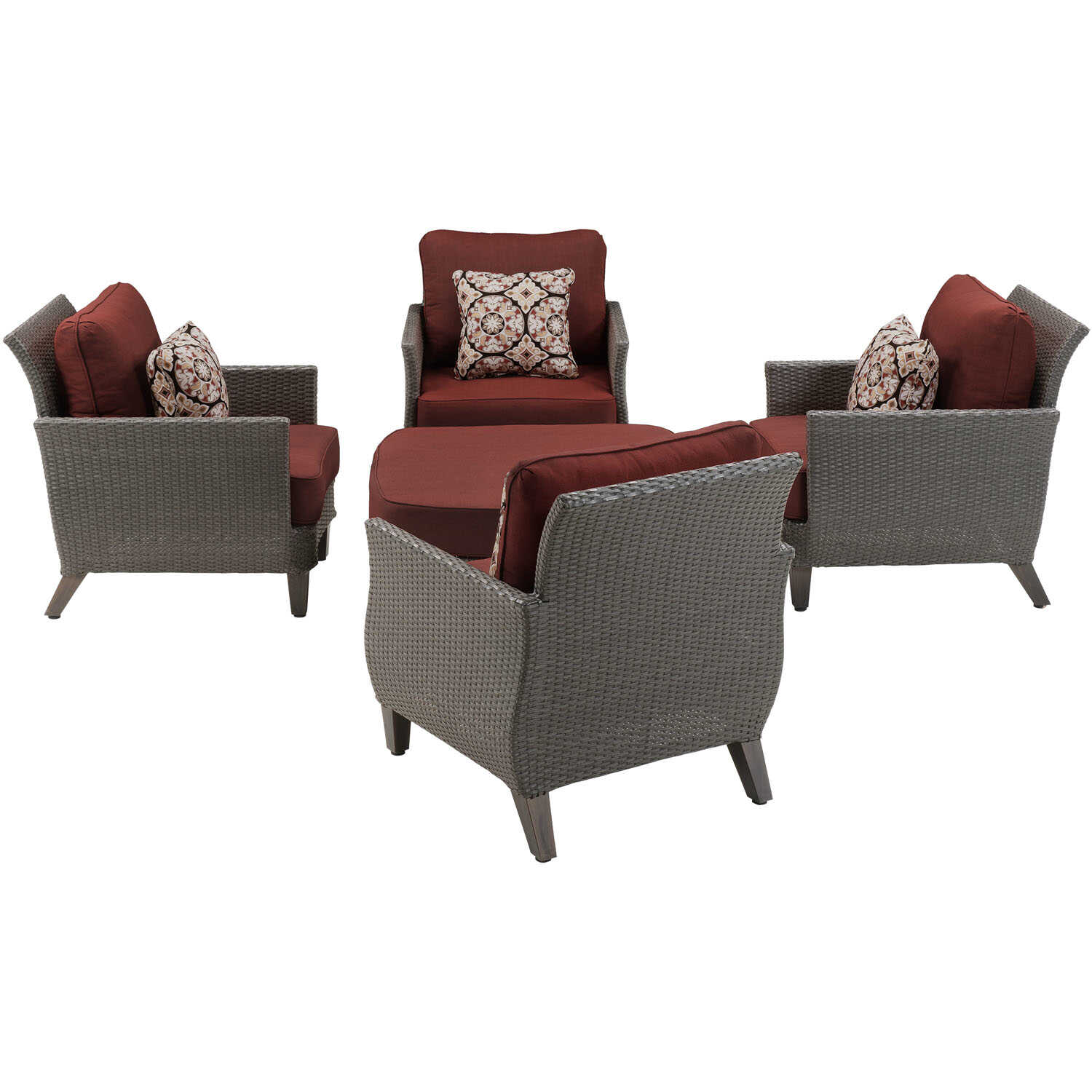 Hanover  Savannah  5 pc. Gray  Chat Set  Red