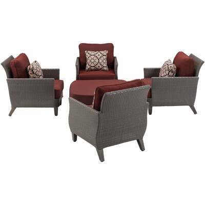 Hanover  Savannah  Savannah  5 pc. Gray  Chat Set  Red