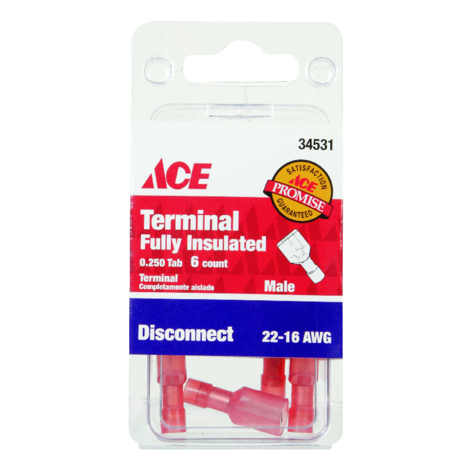 Ace  22-16 AWG Insulated Wire  Male Disconnect  Red  6 pk