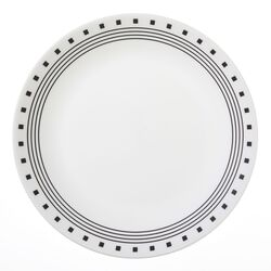 Corelle Livingware Black/White Glass City Block Dinner Plate 10-1/4 in. Dia. 1 pk