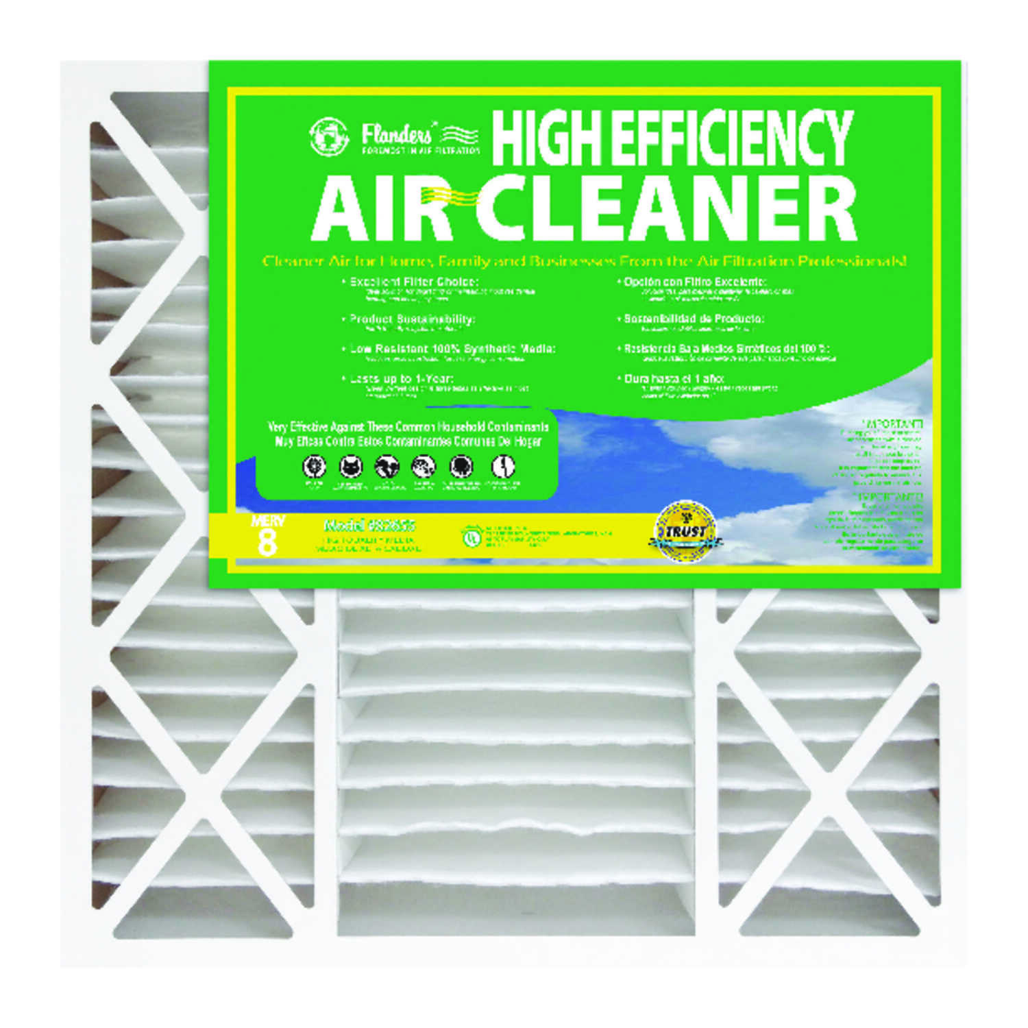 AAF Flanders  Dust Patroller  25 in. H x 16 in. W x 4-1/2 in. D Synthetic  8 MERV Air Filter