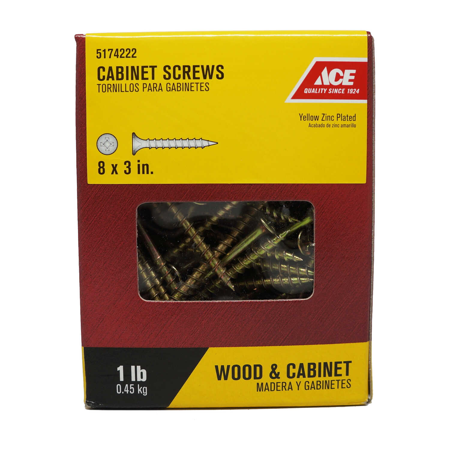 Ace  No. 8   x 3 in. L Phillips  Bugle Head Yellow Zinc-Plated  Steel  Cabinet Screws  1 lb. 95 pk
