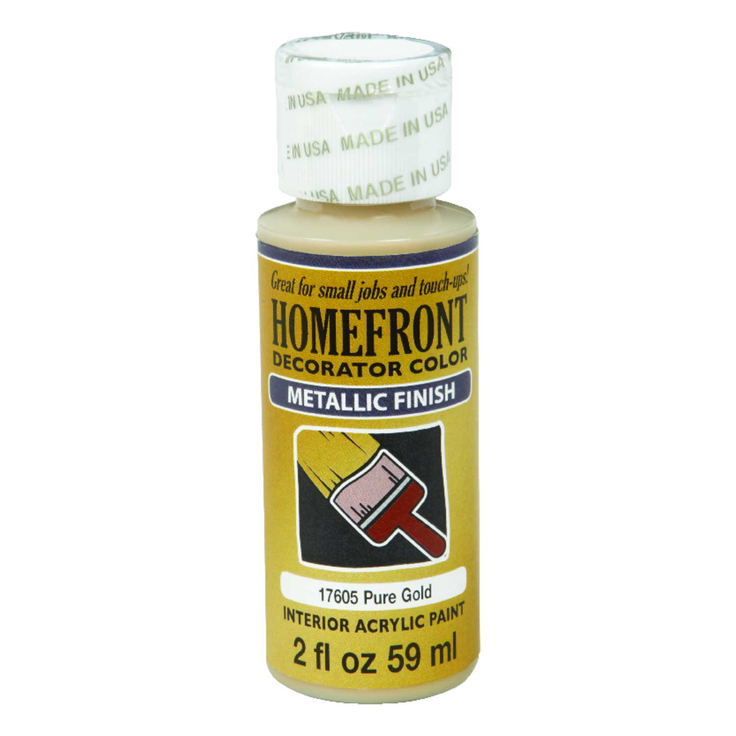 Homefront  Decorator Color  Metallic  Acrylic Latex  2 oz. Hobby Paint  Pure Gold