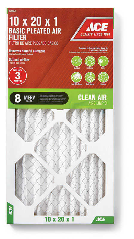 Ace  20 in. H x 10 in. W x 1 in. D Pleated  8 MERV Microparticle Air Filter