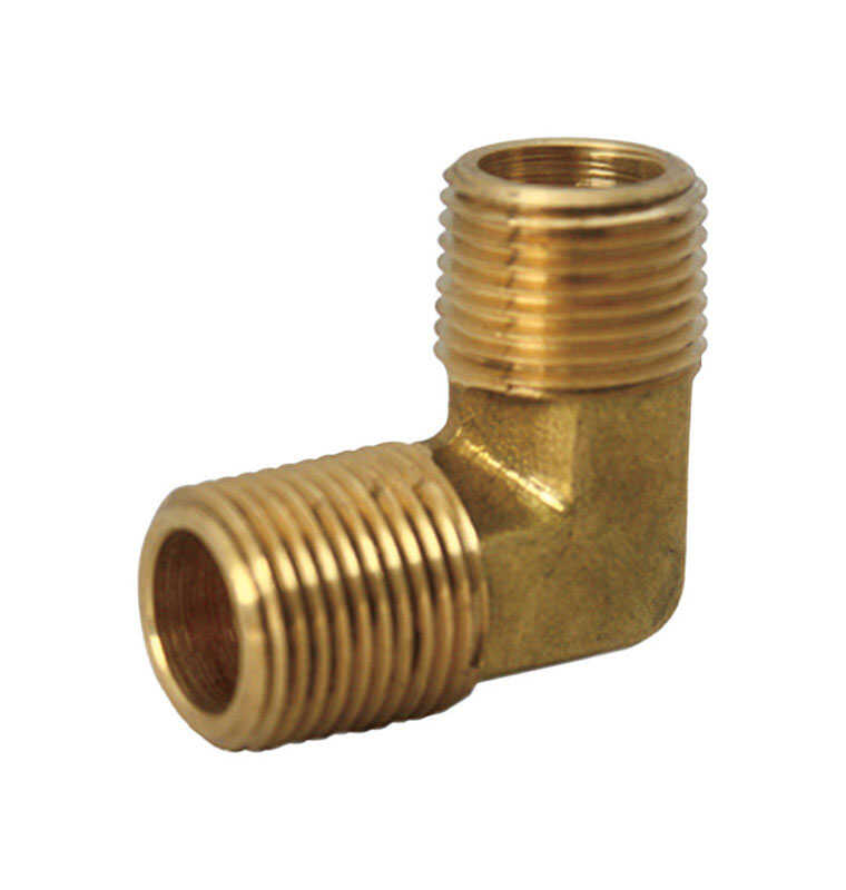 JMF  1/4 in. Dia. x 1/4 in. Dia. MPT To MPT To Compression  Yellow Brass  Elbow