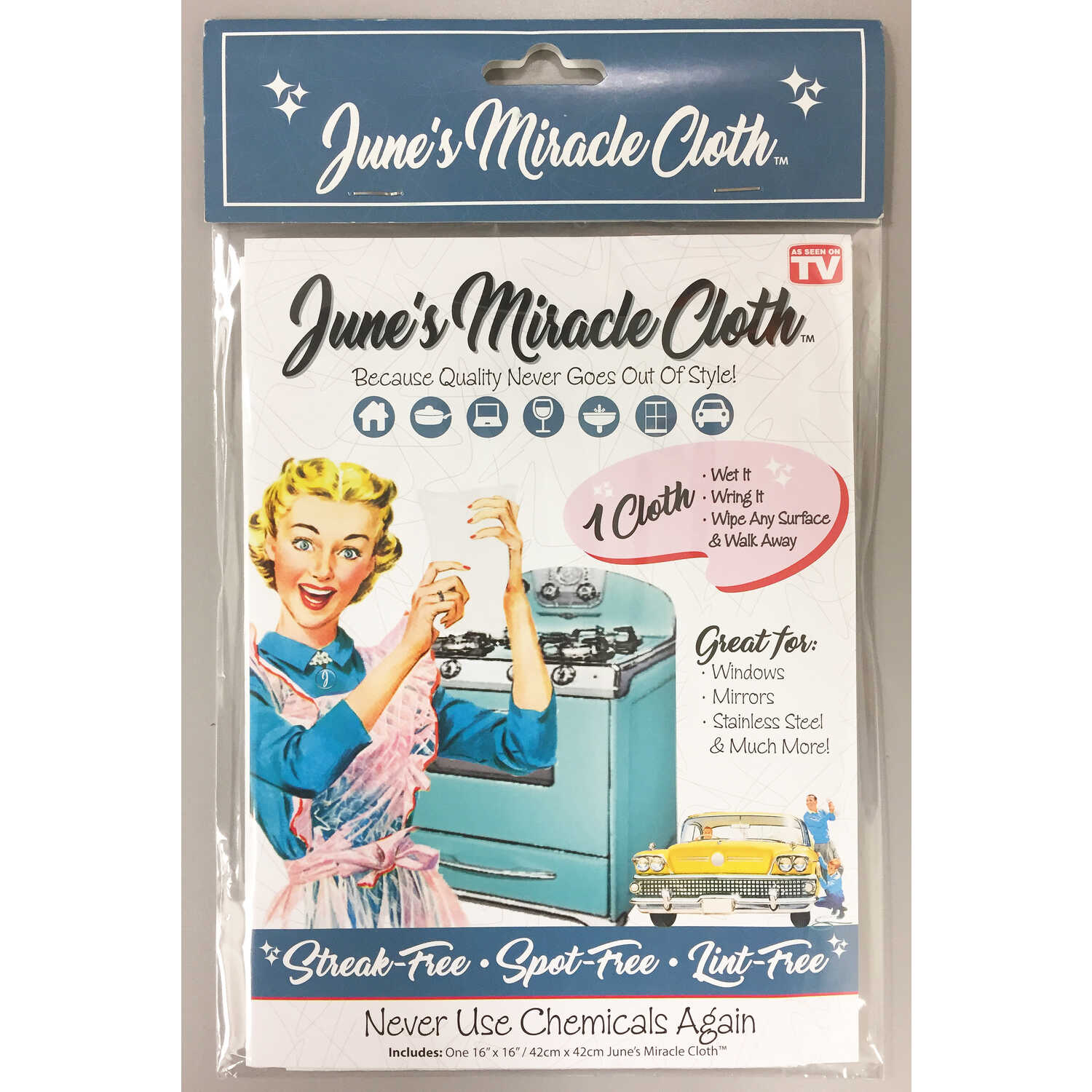 June's Miracle Cloth  As Seen On TV  Microfiber  Polishing Cloth  16 in. L x 16 in. W 1 pk