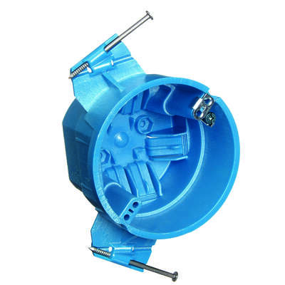 Carlon  4 in. Round  Thermoplastic  Electrical Ceiling Box  Blue