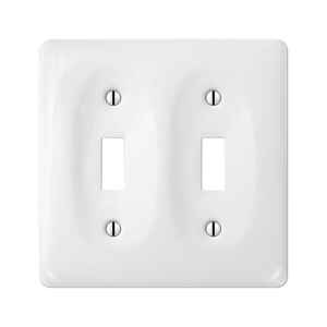 Amerelle  Allena  White  2 gang Ceramic  Toggle  Wall Plate  1 pk