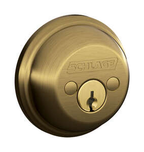 Schlage  Antique Brass  Zinc  Double Cylinder Deadbolt