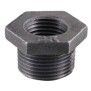 Pipe Decor  3/8 in. FIP  1/2 in. Dia. MPT  Black  Malleable Iron  Adapter Bushing
