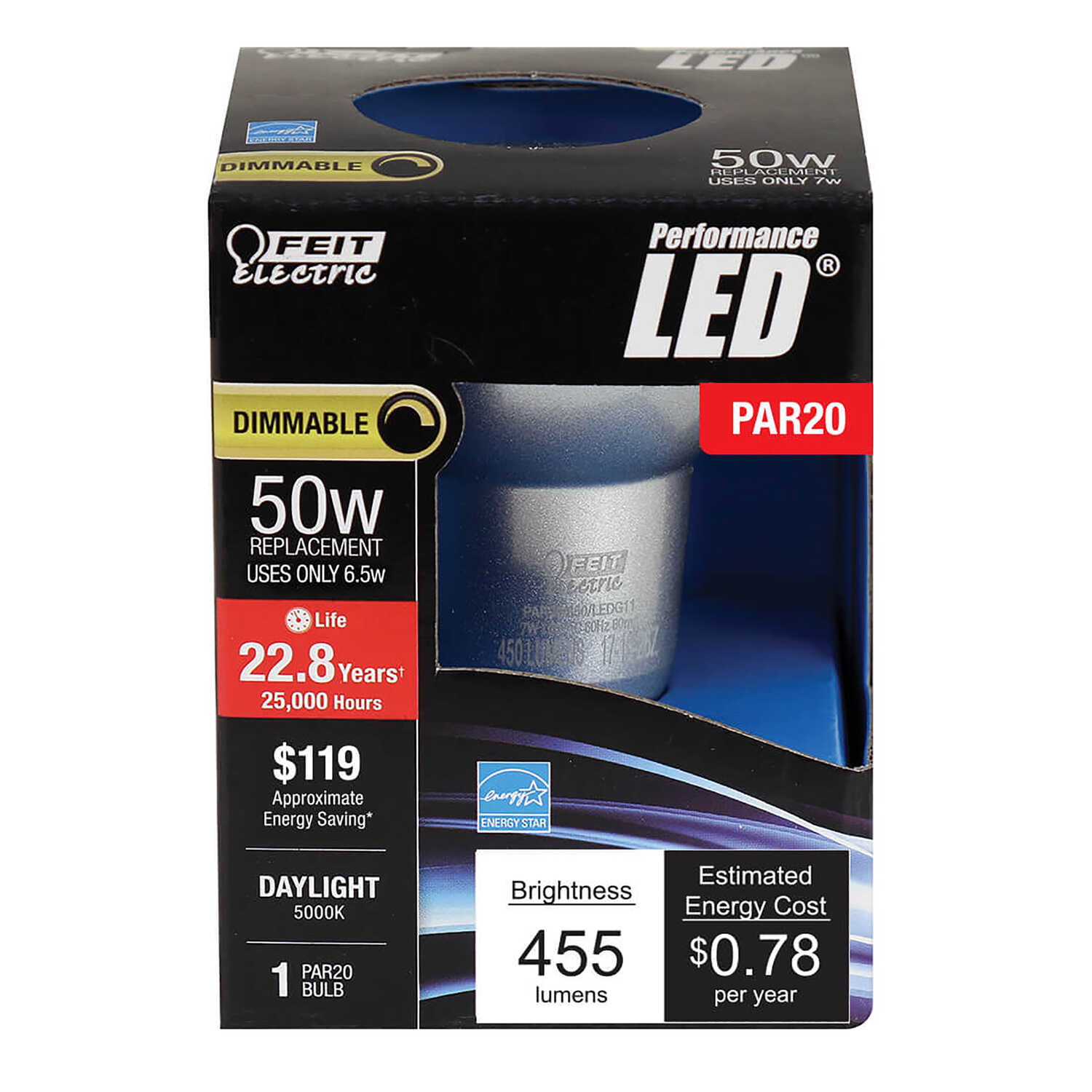 FEIT Electric  5 watts PAR20  LED Bulb  450 lumens Daylight  Floodlight  50 Watt Equivalence