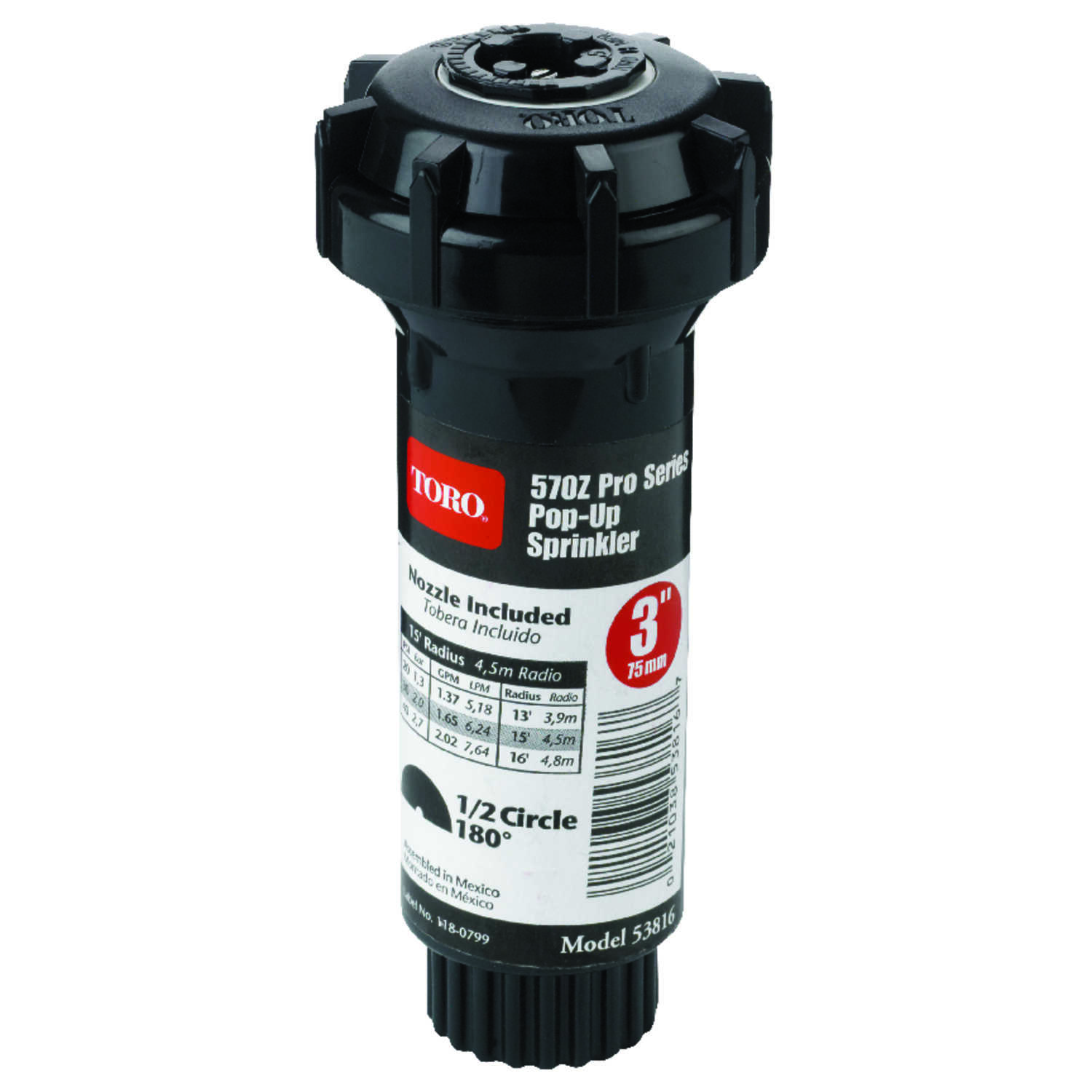 Toro  570Z Pro Series  3 in. H Half-Circle  Pop-Up Sprinkler