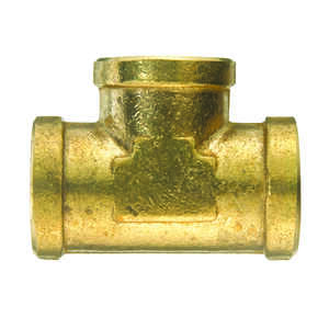 JMF  1/4 in. Dia. x 1/4 in. Dia. x 1/4 in. Dia. FPT To FPT To FPT  Yellow Brass  Tee