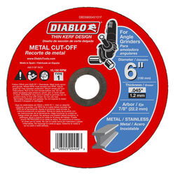 Diablo 6 in. Dia. x 7/8 in. Aluminum Oxide Metal Cut-Off Wheel 1 pk
