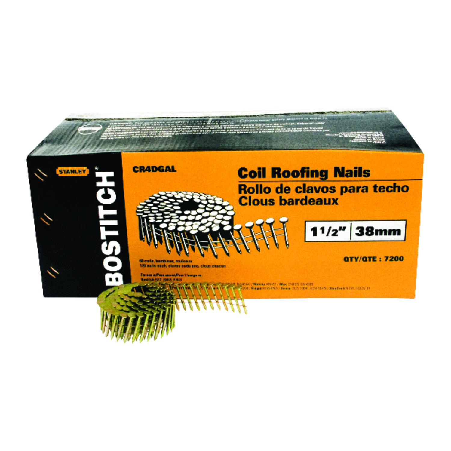 Stanley Bostitch  15 deg. 14 Ga. Smooth Shank  Straight Coil  Roofing Nails  1-1/2 in. L x 0.12 in.