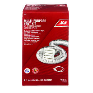 Ace  4 in. W x 6 in. L White  Plastic  Dryer Vent Kit