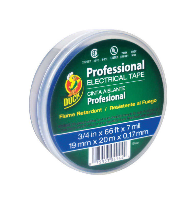 Duck Brand  3/4 in. W x 66 ft. L Blue  Vinyl  Electrical Tape