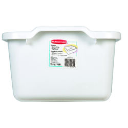 Rubbermaid 15.5 in. L x 12.75 in. W x 7-3/4 in. H White Plastic Dish Pan