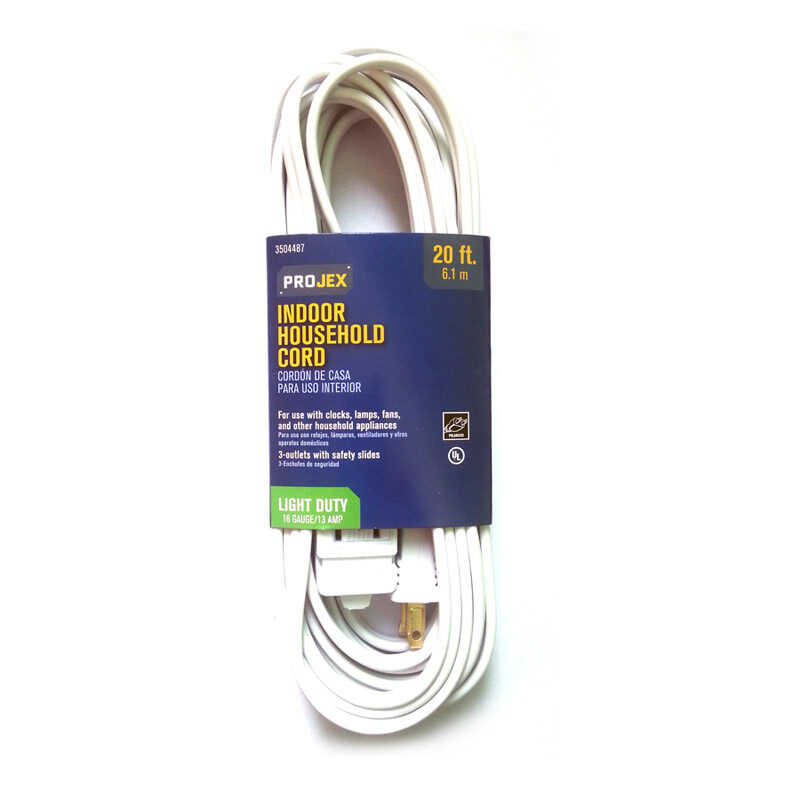 Projex  Indoor  20 ft. L White  Extension Cord  16/2 SPT-2